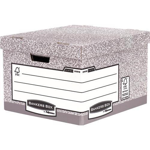 Bankers Box® System karton archiváló konténer, nagy, szürke, 2 db/csomag