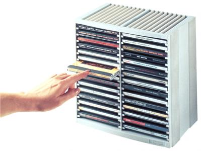 Škatla za CD z vzmetjo, za 30+18 CDjev, siva