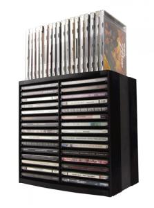 Škatla za CD z vzmetjo, za 30+18 CDjev, črna