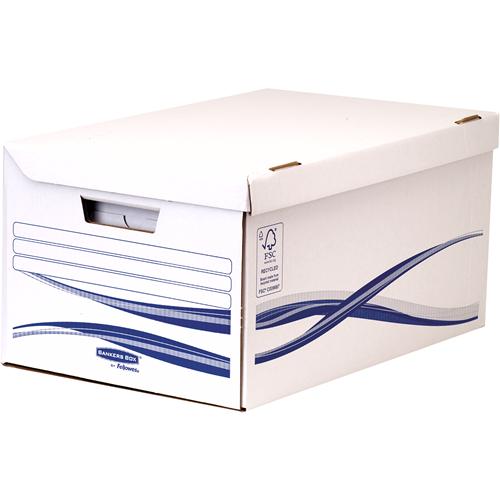 Bankers Box® Basic csapófedeles archiváló konténer 6 db archiváló dobozzal (80 mm), kék/fehér