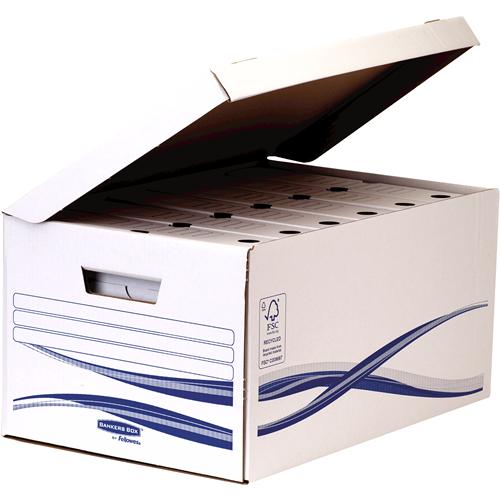 Bankers Box® Basic csapófedeles archiváló konténer, kék/fehér, 10 db/csomag