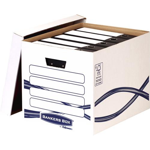 Bankers Box® Basic Tall archiváló konténer, kék/fehér, 10 db/csomag