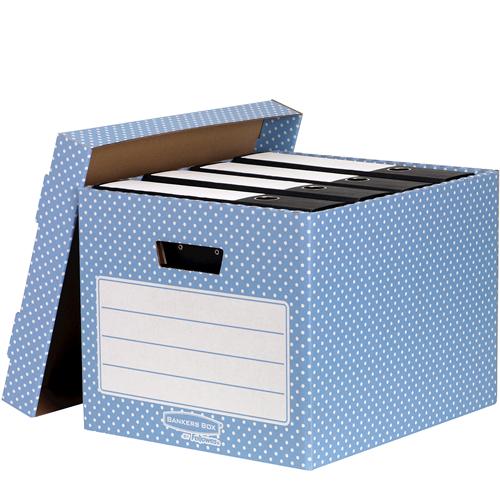 Bankers Box® Style otthoni tárolódoboz, kék/fehér, 4 db/csomag SK